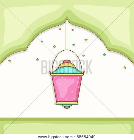 Holy month of muslim community, Ramadan Kareem celebration greeting card with hanging colorful arabic lamp or lantern.