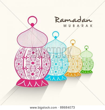 Colorful creative arabic lamps or lanterns on white background for holy month of muslim community, Ramadan Kareem celebration.