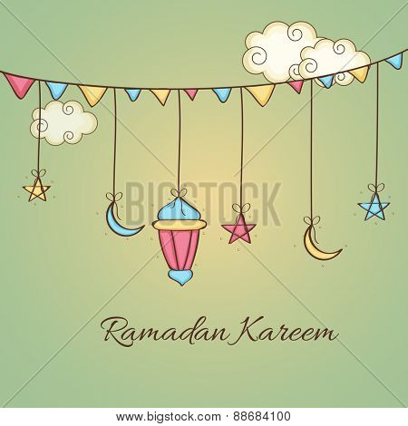Holy month of muslim community, Ramadan Kareem celebration greeting card with hanging arabic lamp, stars and moons.