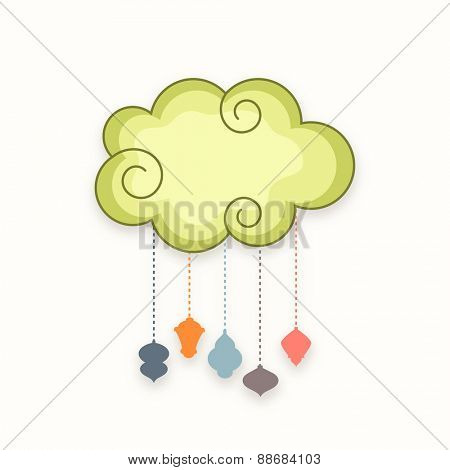 Colorful traditional arabic lamps or lanterns hanging by clouds on white background for holy month of muslim community, Ramadan Kareem celebration.