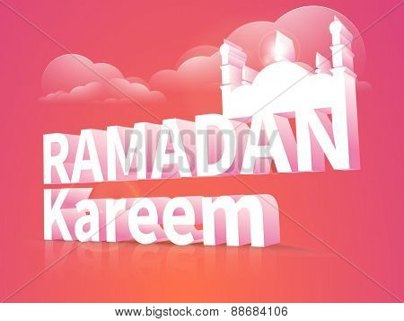 3D text Ramadan Kareem with islamic mosque on cloudy colorful background for holy month of muslim community festival celebration.