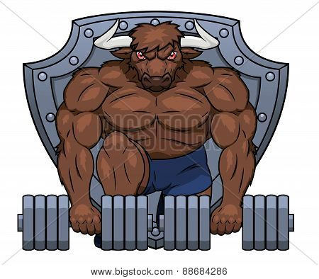 Muscular bull is lifting dumbbells 2