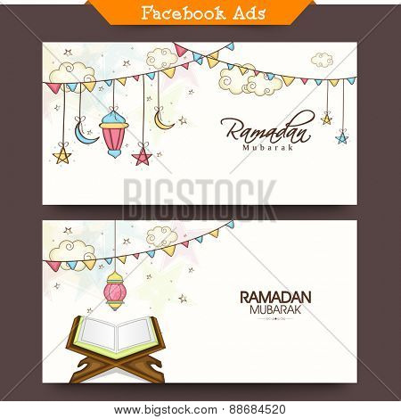 Social media ads or banners with arabic lanterns and holy book of Quran Shareef for muslim community festival, Ramadan Kareem celebration.