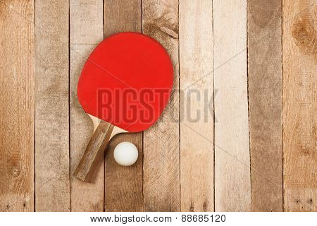 Ping pong paddle and ball