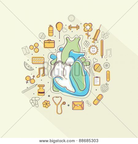 Illustration of human heart with different elements to keep it healthy for Health and Medical concept.