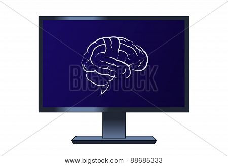 Symbol of the brain on the computer lcd monitor
