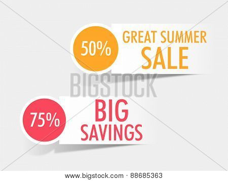 Sticker, tag or label of Summer Sale with big discount offers on grey background.