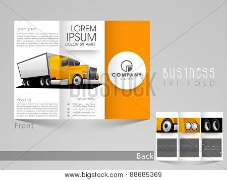 Stylish tri fold template, brochure or flyer design for automobile sector.