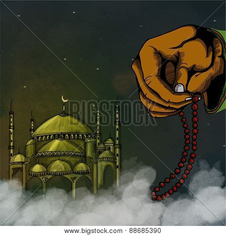 Islamic holy month of prayers, Ramadan Kareem celebration with illustration of human hand holding rosary on mosque decorated background.
