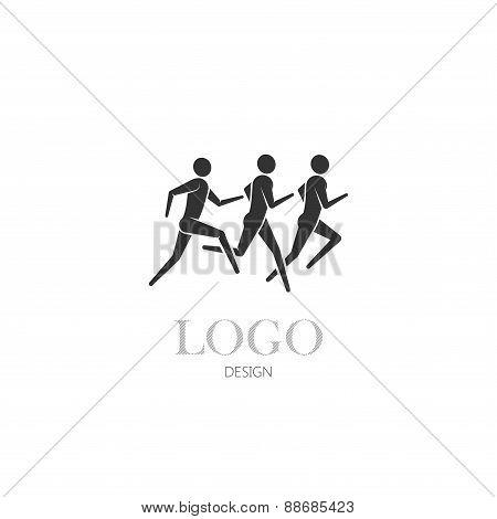 illustration of running or jogging men icons
