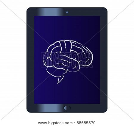 Symbol of the brain on the tablet computer