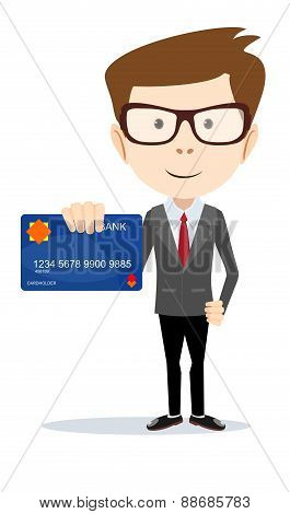 Businessman holding a bank card - vector illustration