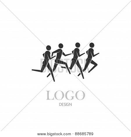 illustration of running or jogging men icons