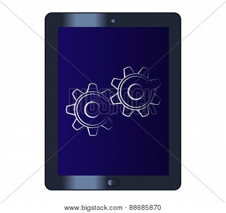 Symbol of the cogwheels on the tablet computer