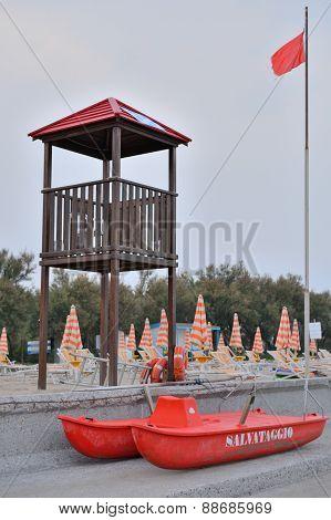 Coast Guard post on adriatic coast Altanea, Caorle in Italy.