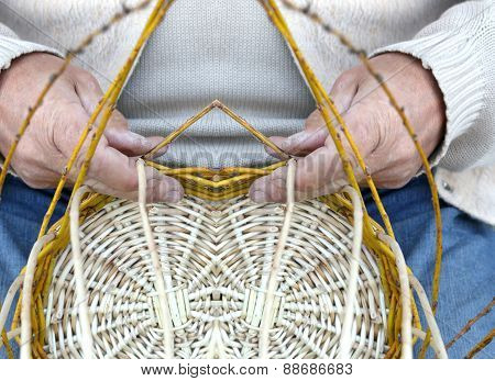 Elderly Craftsman Creates A Woven Wicker Basket