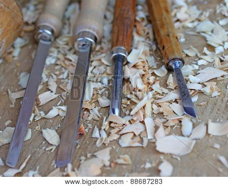 Chisels With Wood Chips After Processing