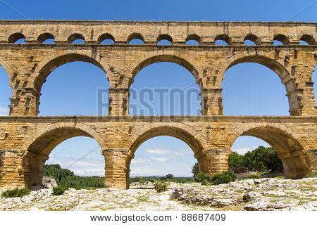 Front View Of The Pont Du Gard