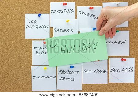 To-do Tasks With Inscription Holiday In The Foreground