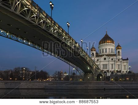 Patriarchal bridge at the Cathedral of Christ the Savior at night.