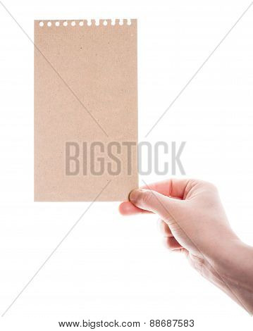 Handmade Paper Card In Woman Hand