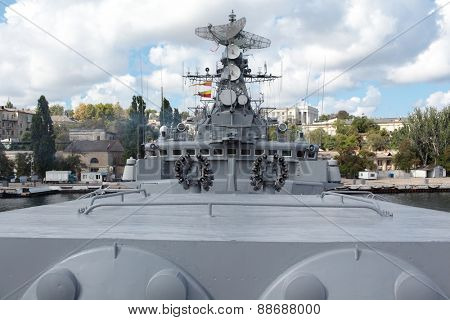 SEVASTOPOL, CRIMEA, UKRAINE - AUGUST 17, 2012: Anti-submarine mortars on the Russian frigate