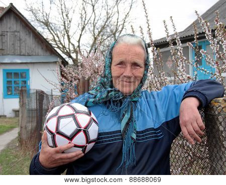 Senior Woman With Soccer Ball