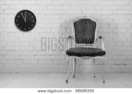 Old chair with clock