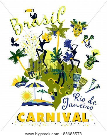 Vector Illustration Of Brazilian Carnival.