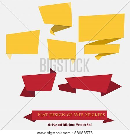 Origami Ribbon Vector Set
