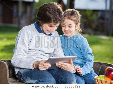 Smiling siblings using tablet computer at campsite