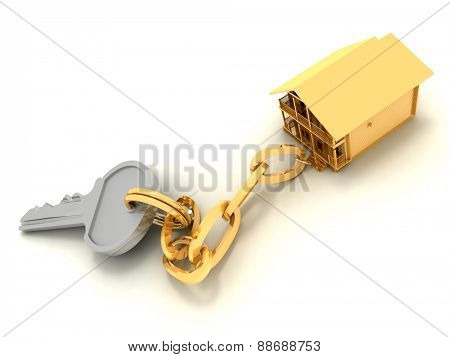 house key on the white background