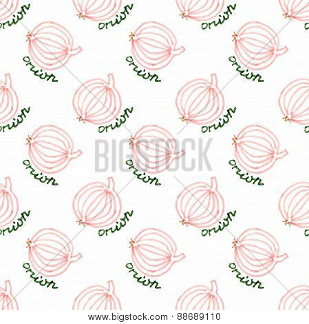 Seamless watercolor pattern with onion on the white background, aquarelle. Vector illustration. Hand