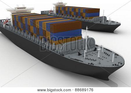 Cargo ships isolated on white background