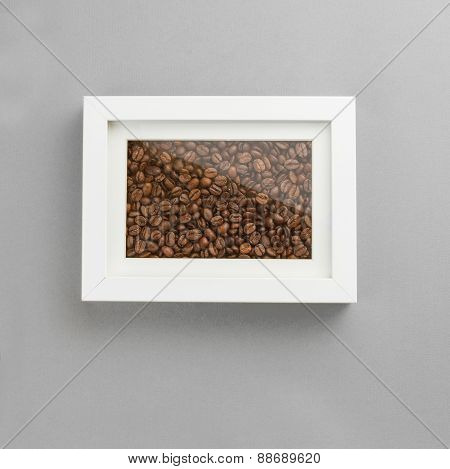 Photo frame full off coffee beans