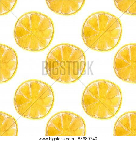 Seamless watercolor pattern with lemons on the white background, aquarelle.  Vector illustration.