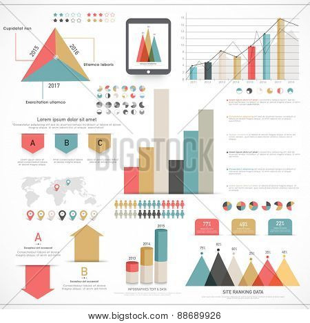 Stylish Business Infographic elements collection for financial growth data presentation.