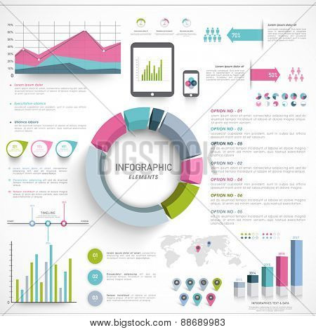 A big set of Business Infographics collection including 3D pie chart, creative graphs, statistical bars and digital devices presentation on white background.