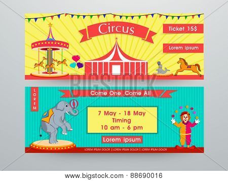 Circus banner or website header set.