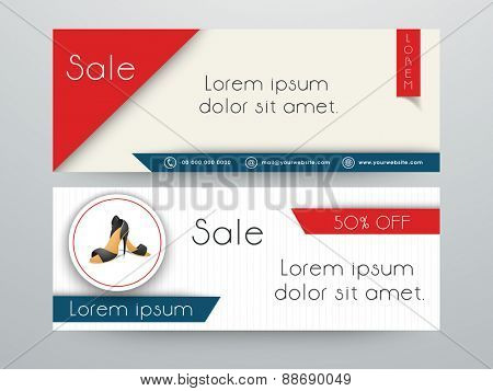 Woman's sandal sale with discount offer banner or website header set.