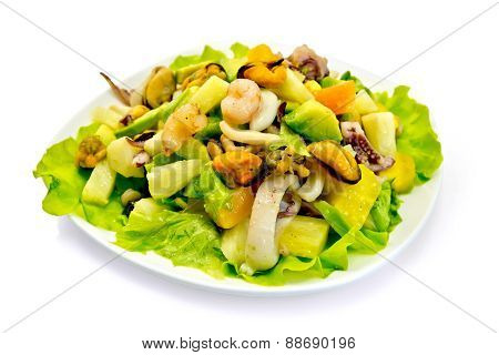 Salad seafood and avocado in plate