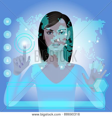 Girl in front of a blue glowing digital world map with web icons and panel. Modern technology template