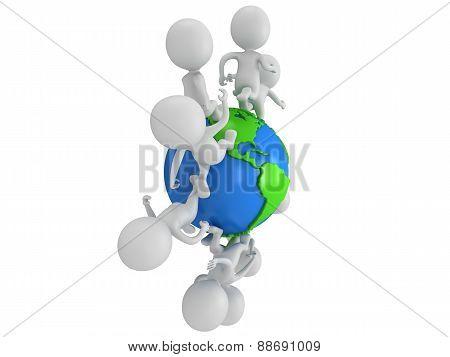 Small White People Running Around The World