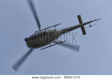 Helicopter Filming A Race