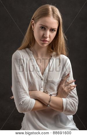 Serious Blond Woman