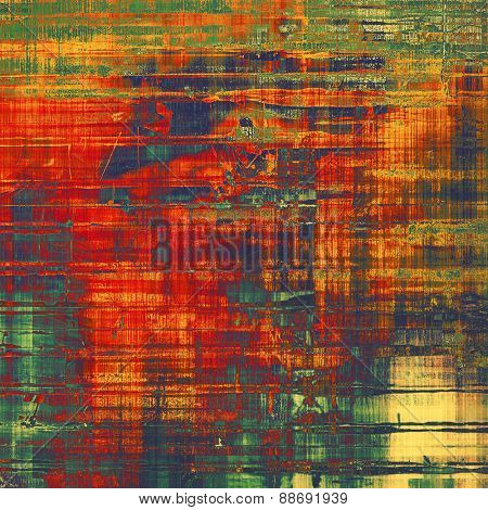 Grunge texture, may be used as background. With different color patterns: yellow (beige); green; blue; red (orange)