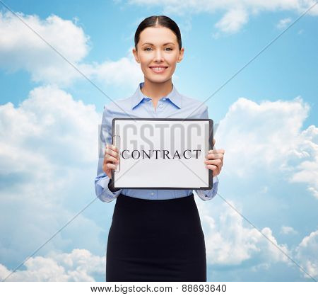 business, people, employment and law concept - young smiling businesswoman holding clipboard with contract over blue sky and clouds background