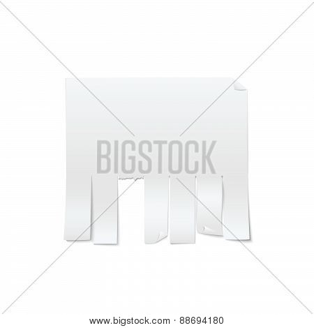 Blank Sheet Of Paper Advertising With Cut Slips