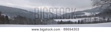 Sumava winter panoramic view National Park Czech Republic