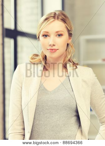 bright picture of calm and serious woman